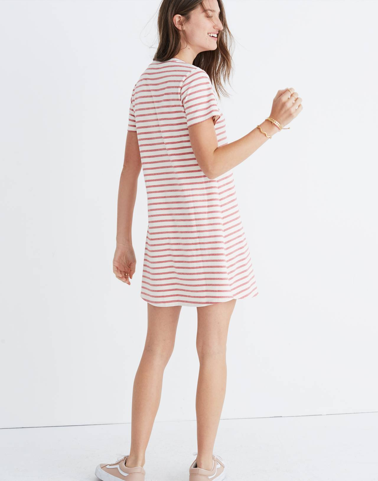 Striped Retreat Dress in flame red image 3
