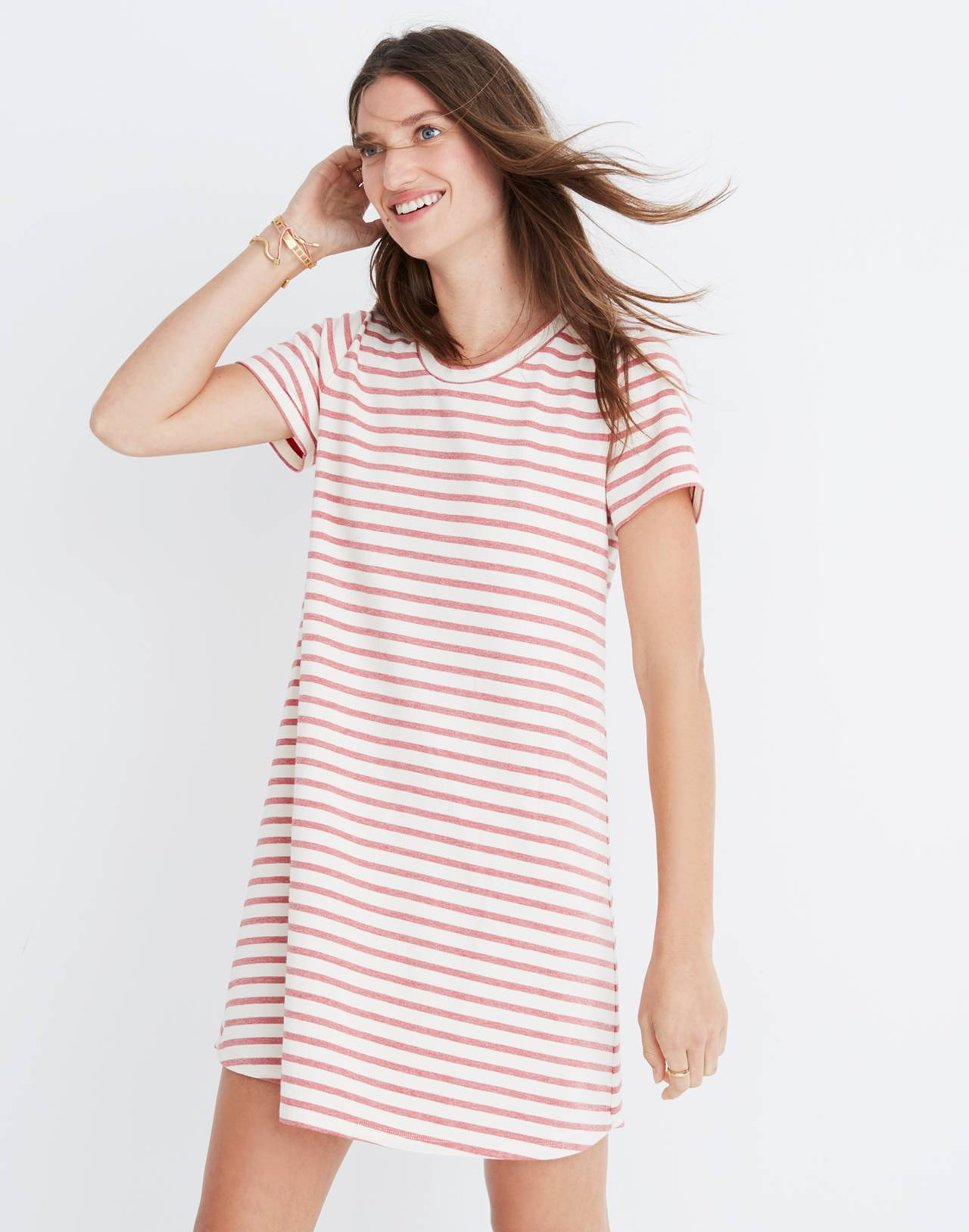 Striped Retreat Dress in flame red image 1