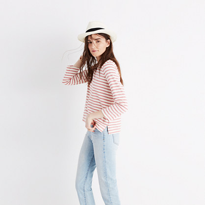 Keys Three-Quarter Tee in Whitwell Stripe