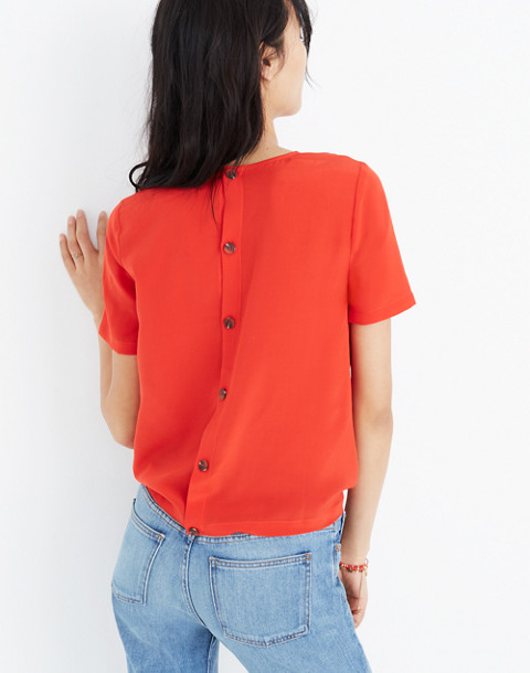Silk Button-Back Tie Tee