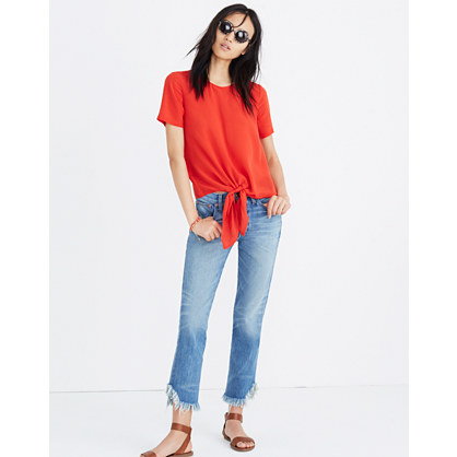 Silk Button-Back Tie Tee