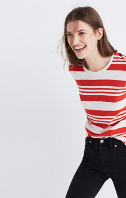Whisper Cotton Crewneck Tee in Rampling Stripe