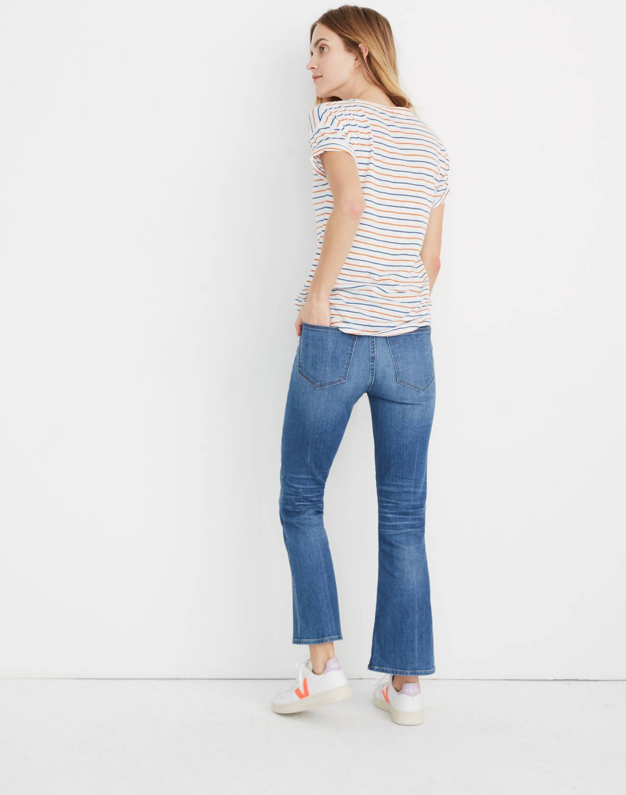 Whisper Cotton Crewneck Tee in Brion Stripe in bright ivory image 3