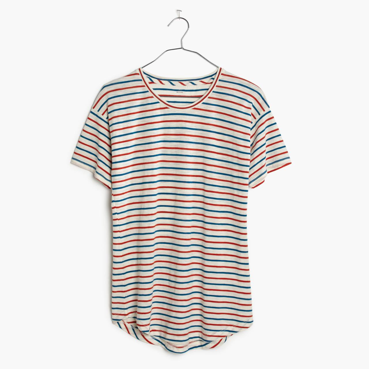 Whisper Cotton Crewneck Tee in Brion Stripe in bright ivory image 4