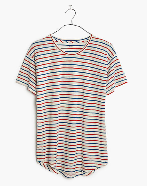 8d80fce9 Whisper Cotton Crewneck Tee in Brion Stripe in bright ivory image 4
