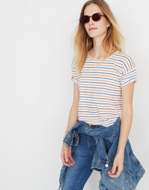 Whisper Cotton Crewneck Tee in Brion Stripe in bright ivory image 1