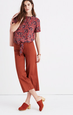 Silk Button-Back Tie Tee in Assam Floral