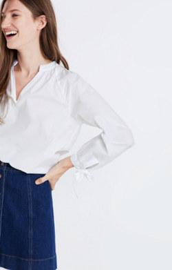 Tie-Sleeve Popover Top in Eyelet White