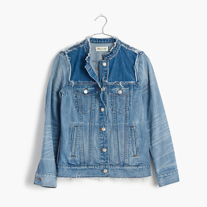 Distressed Collarless Jean Jacket