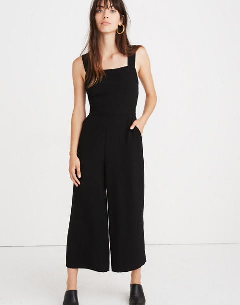 Apron Bow-Back Jumpsuit in true black image 1