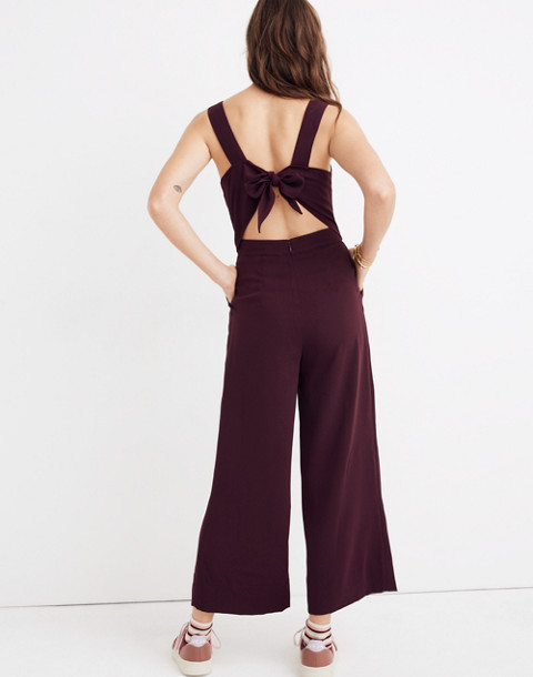 Apron Bow-Back Jumpsuit in rich plum image 3