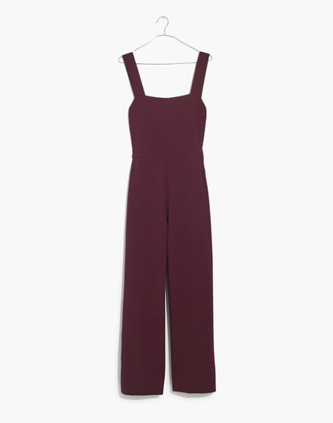 Apron Bow-Back Jumpsuit in rich plum image 4