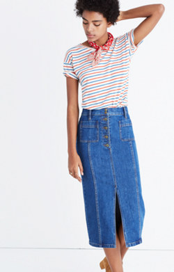 High-Slit Jean Skirt