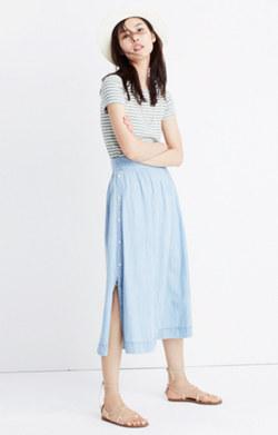 Indigo Side-Button Skirt