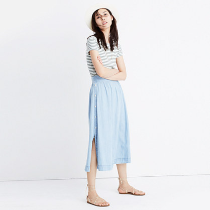 Indigo Side-Button Skirt