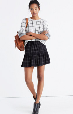Windowpane Ruffle-Hem Skirt