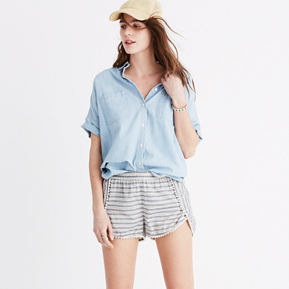 Oahu Cover-Up Shorts in Stripe