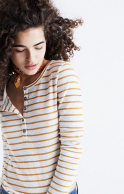 Sound Ribbed Henley Tee in Vivian Stripe