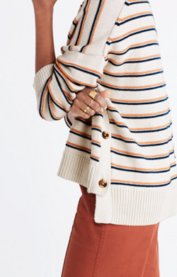 Brownstone Side-Button Sweater in Stripe