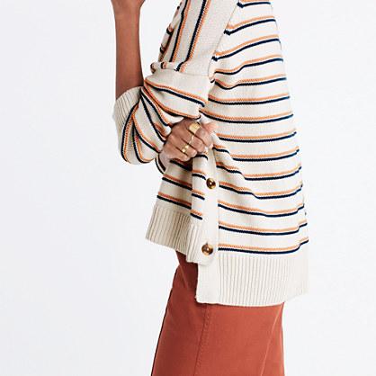 Brownstone Side-Button Sweater in Stripe