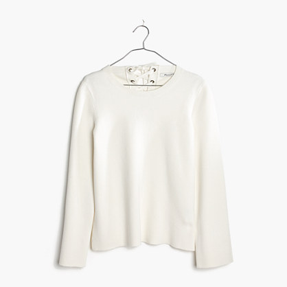 Laced-Back Pullover Sweater