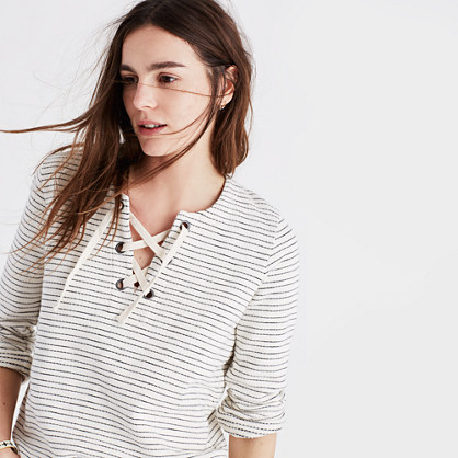 Striped Lace-Up Top