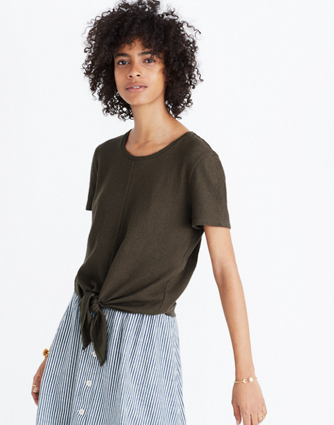 Texture & Thread Modern Tie-Front Top in foliage green image 1
