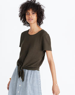 Texture & Thread Modern Tie-Front Top