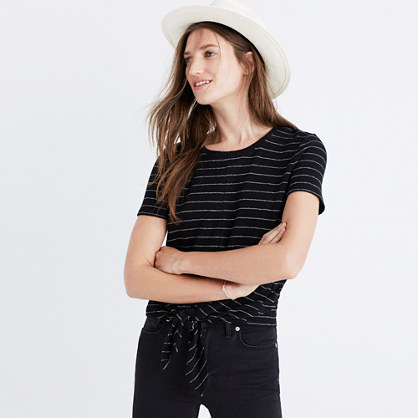 Modern Tie-Front Top in Stripe