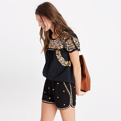 Embroidered Springtime Pull-On Shorts