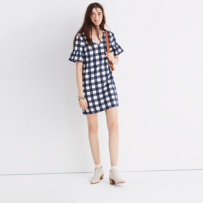 Bell-Sleeve Dress in Leighton Plaid