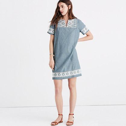 Embroidered Chambray Tunic Dress