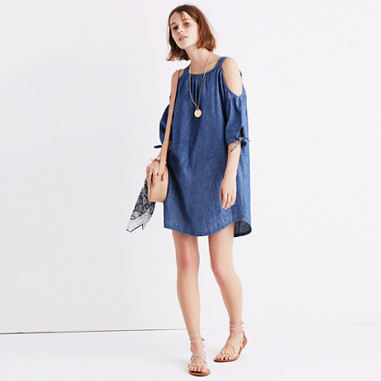 Chambray Cold-Shoulder Dress