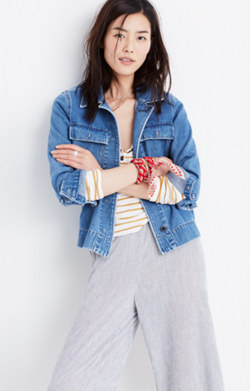 Northward Cropped Army Jacket in Denim