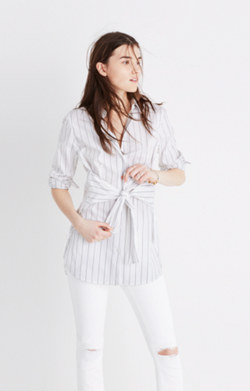 Button-Down Tie Tunic Shirt