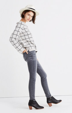 Laced-Back Pullover Sweater in Windowpane Jacquard