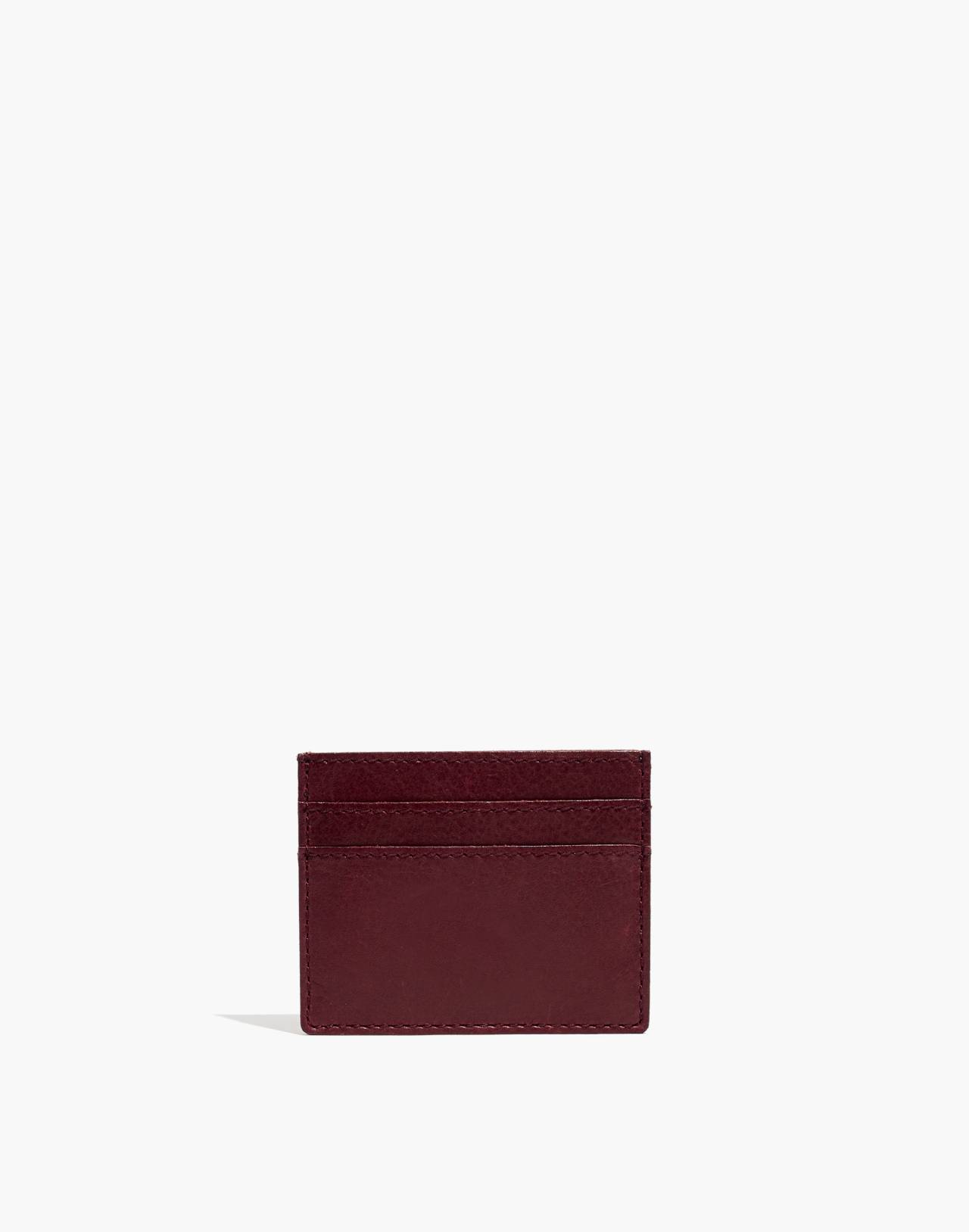 The Leather Card Case in dark cabernet image 1