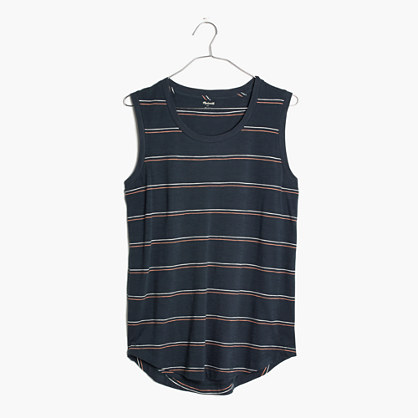 Whisper Cotton Crewneck Muscle Tank in Braxton Stripe