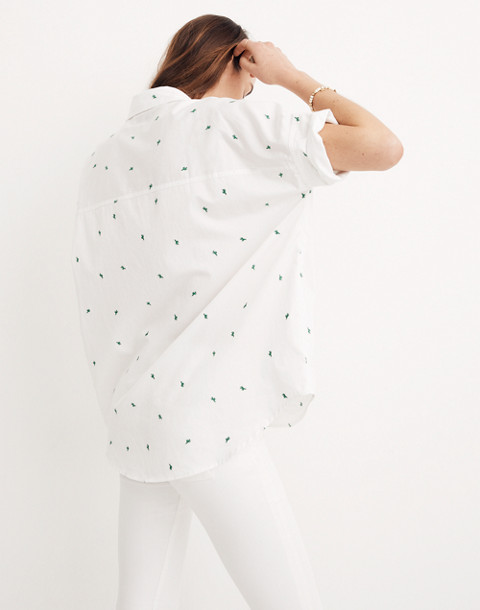 Embroidered Cactus Courier Shirt in eyelet white image 2