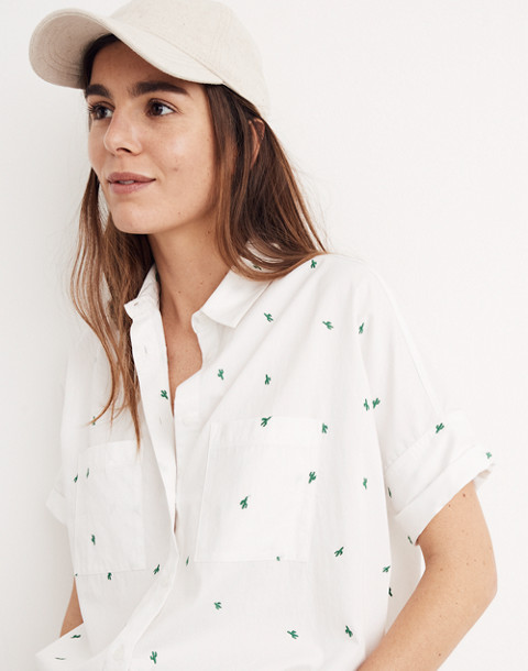 Embroidered Cactus Courier Shirt in eyelet white image 3