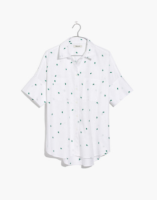 Embroidered Cactus Courier Shirt in eyelet white image 4