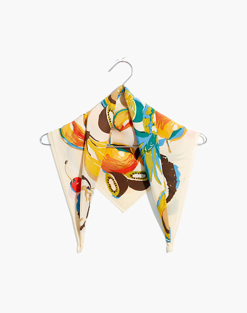 Silk Bandana in bone multi image 1