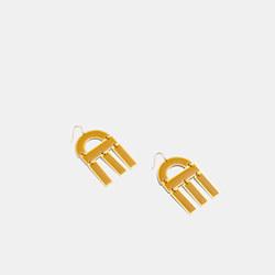 Modernism Enamel Earrings in Cumin