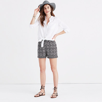Drapey Pull-On Shorts in Bandana Paisley