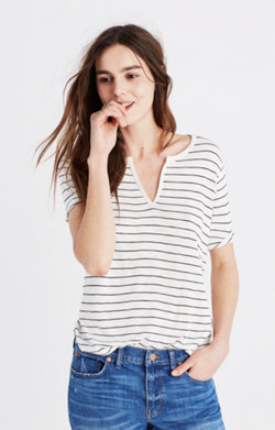 Anthem Split-Neck Tee in Selby Stripe