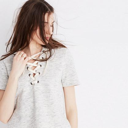 Lace-Up Hoodie Sweatshirt