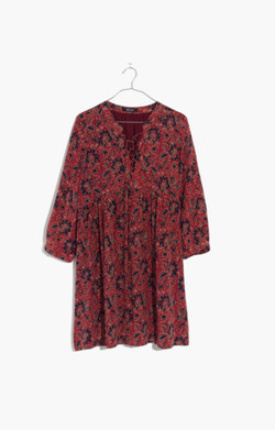 Silk Lace-Up Dress in Assam Floral