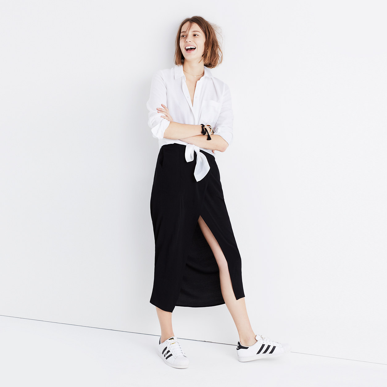 Striped Side-Slit Midi Skirt : midi & maxi | Madewell