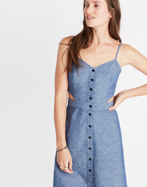 Chambray Cutout Cami Mini Dress in bengali indigo image 3