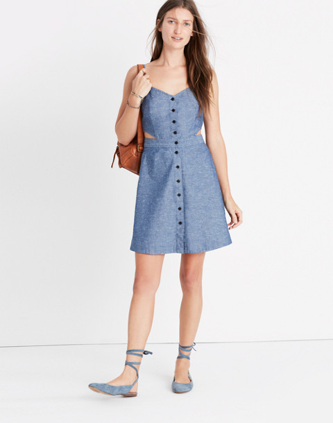 Chambray Cutout Cami Mini Dress in bengali indigo image 1